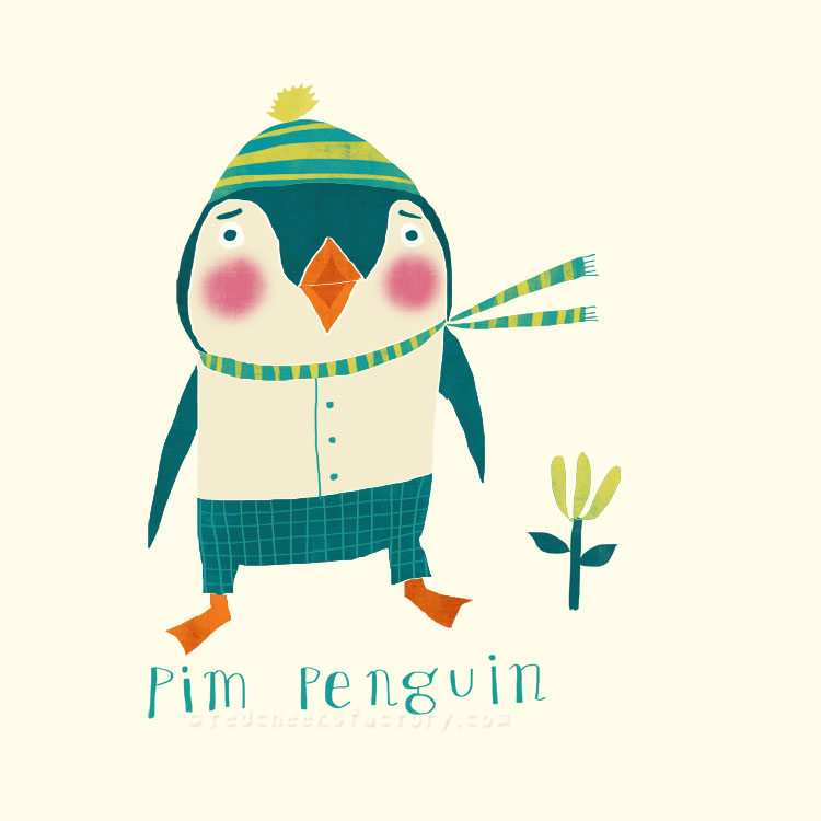 Pim Penguin animal character by Nelleke Verhoeff