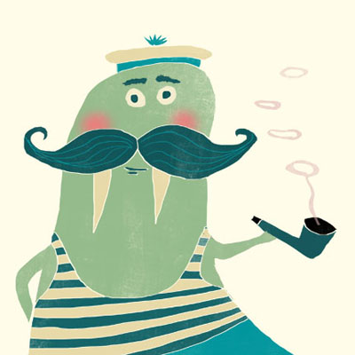 Wally Walrus animal character for Childrens picture book