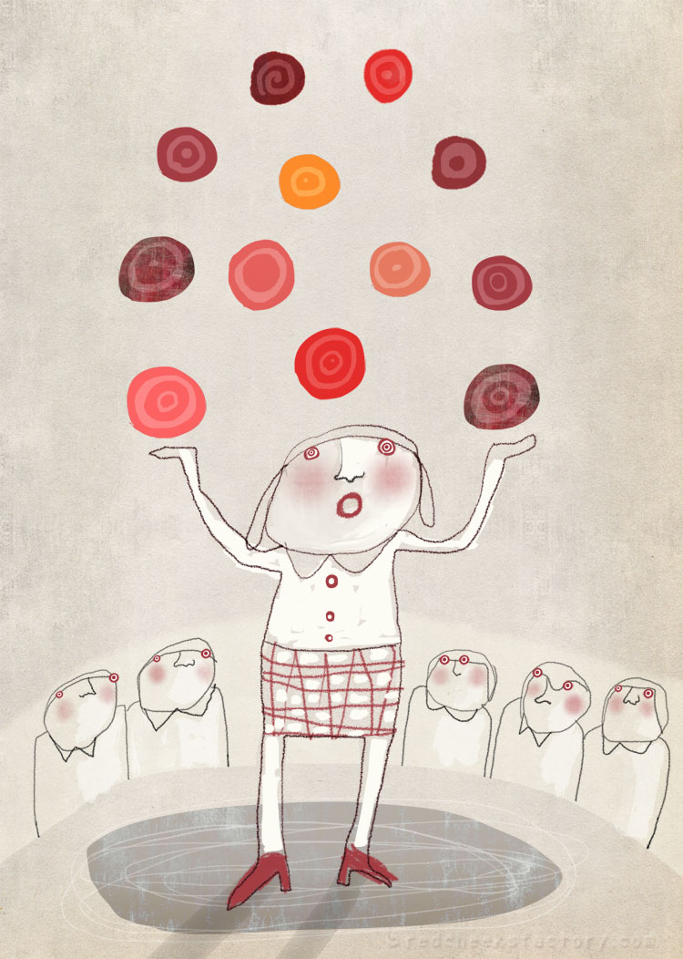 Mesmerizing juggling illustration