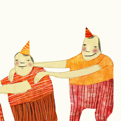 Quirky illustration of three clowns dancing a polonaise