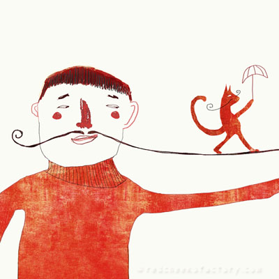 Illustration of a man with moustache as a tightrope with a cat walking on it with an umbrella