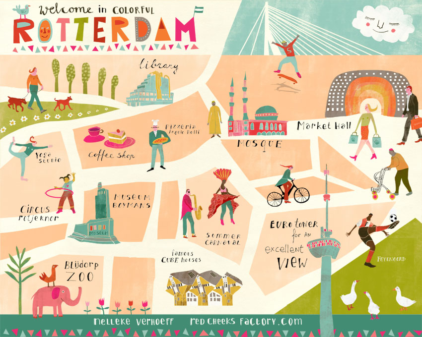 My Colorful Rotterdam illustraion of a map of Rotterdam