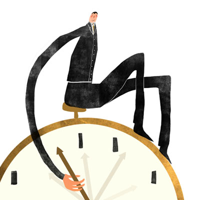 Time Management illustrations - Man manipulating clocks