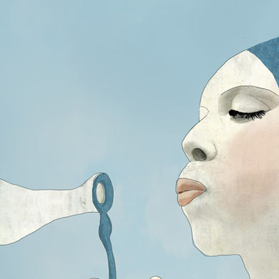 Illustration of a woman blowing bubbles
