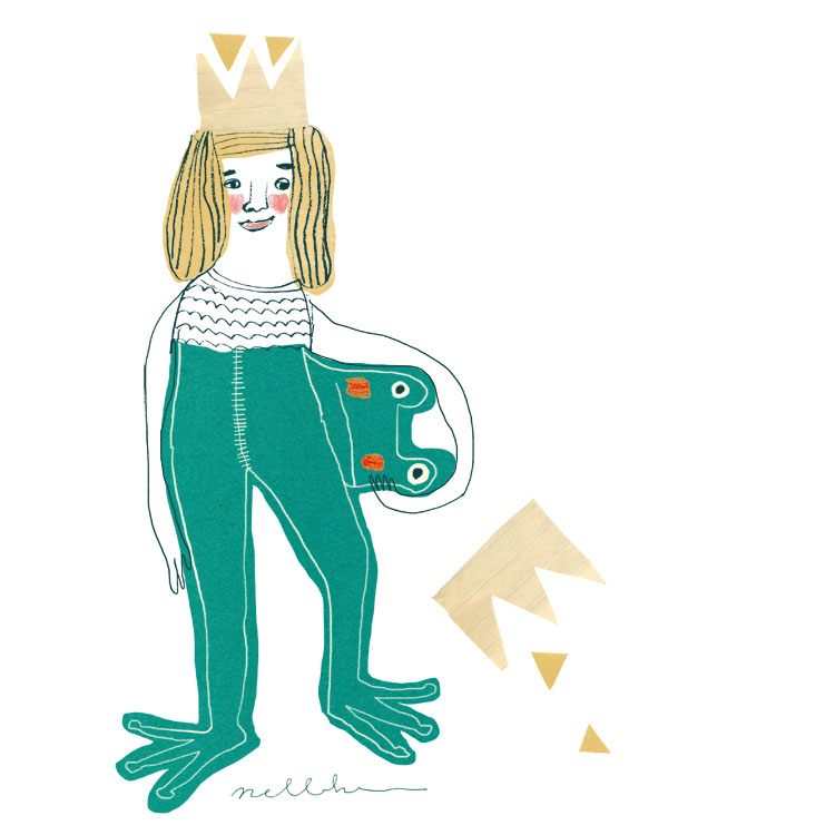 Frog Skin  illustration by Nelleke Verhoeff for the frog princess fairytale