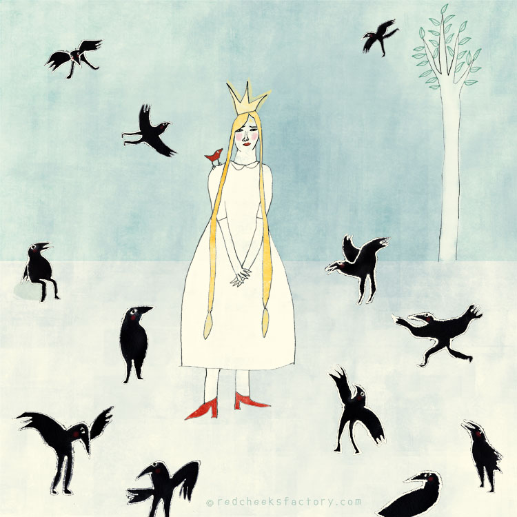 Prinses With Raven  illustration by Nelleke Verhoeff for the twelve brothers fairytale of the Grimm brothers