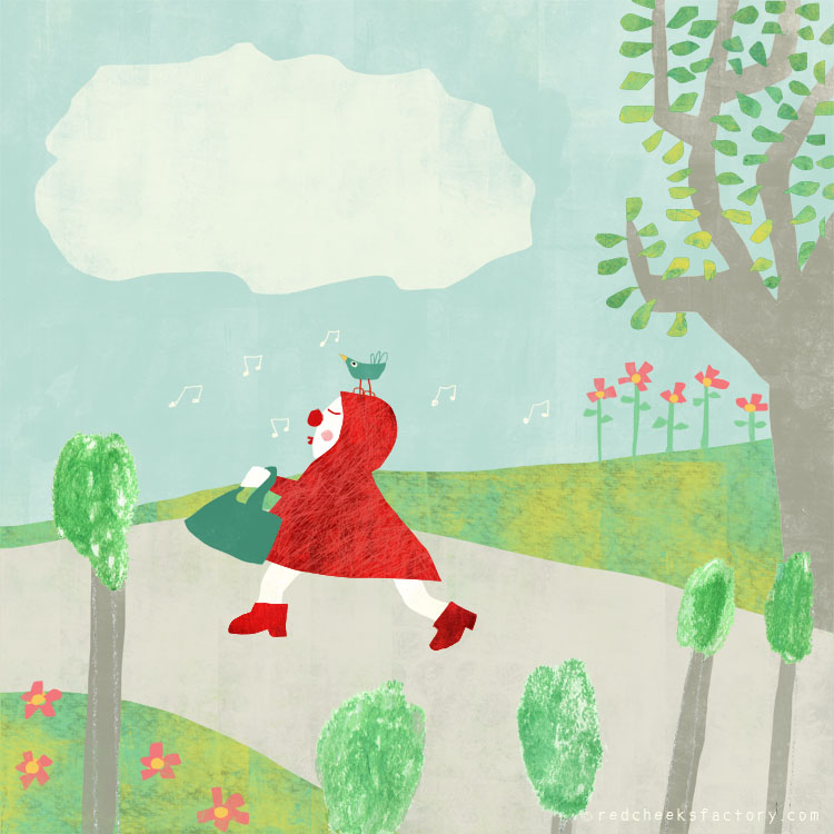 Ridinghood 5 illustration by Nelleke Verhoeff for little Red Ridinghood fairytale