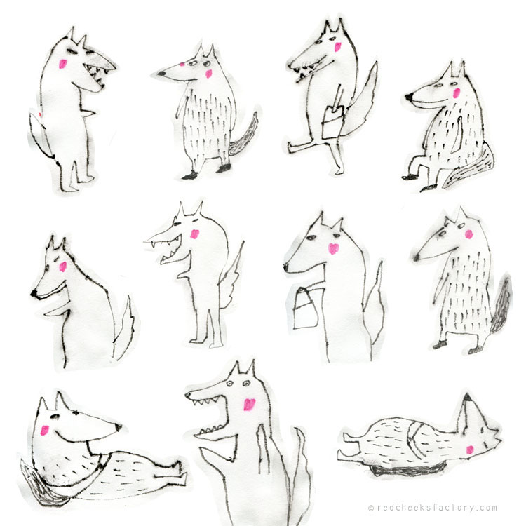 Wolves Character sketches by Nelleke Verhoeff for little red Ridinghood