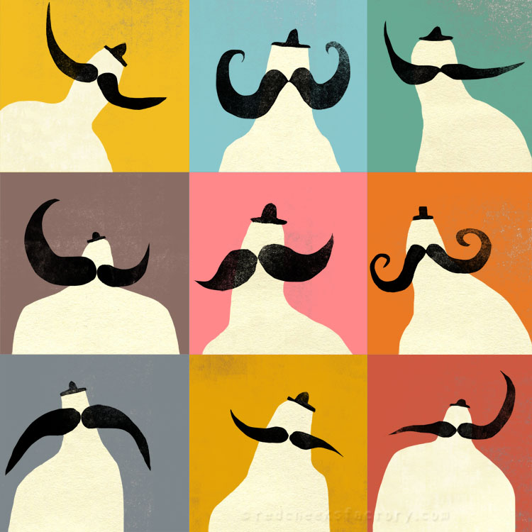 Mister Moustache illustration giclee print Red Cheeks Factory