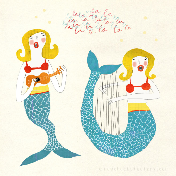 Singing Mermaids Nautical illustration