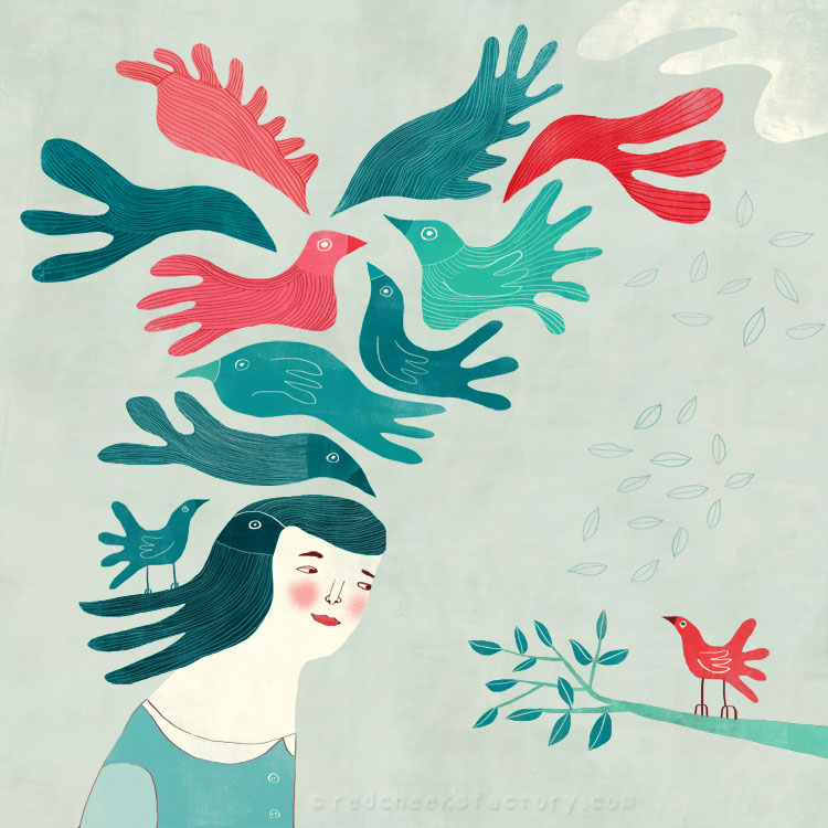 Talking with Birds illustration for GINDS Project Nelleke Verhoeff