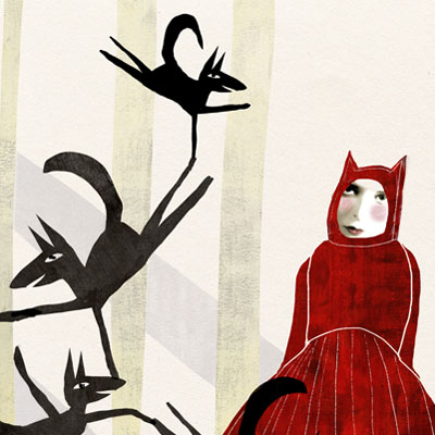 Liittle Red Ridinghood and the seven wolves illustration