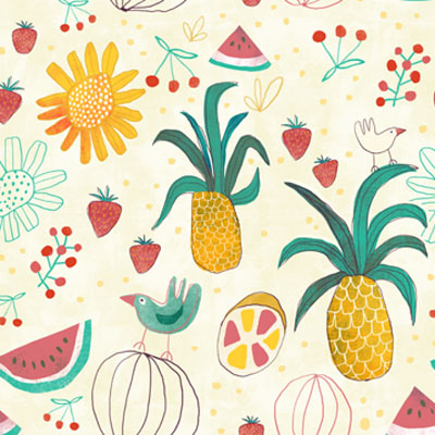 Tropical Party Pattern with all kind of summer fruits and birds