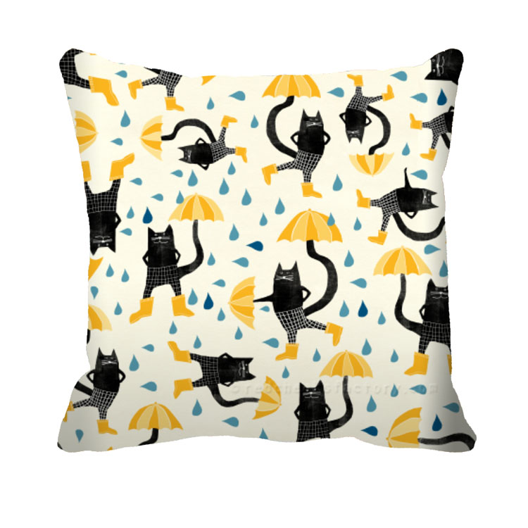 Umbrellas And Cats Cushion Nelleke Verhoeff