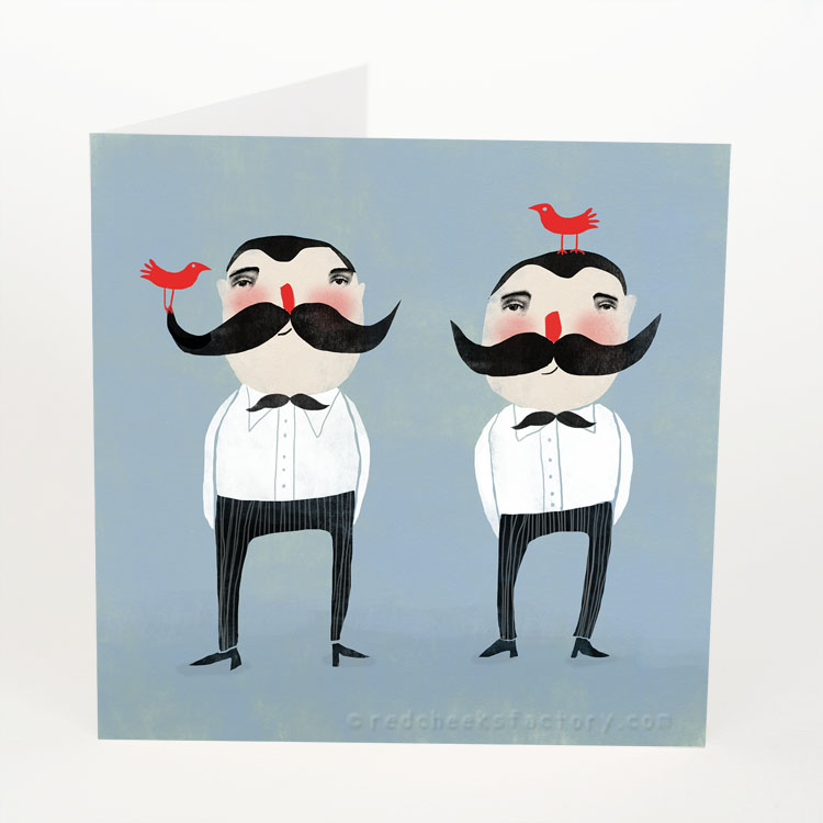 Moustache Twins postcard design