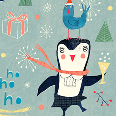 Happy holidays - christmas postcard with party penguins