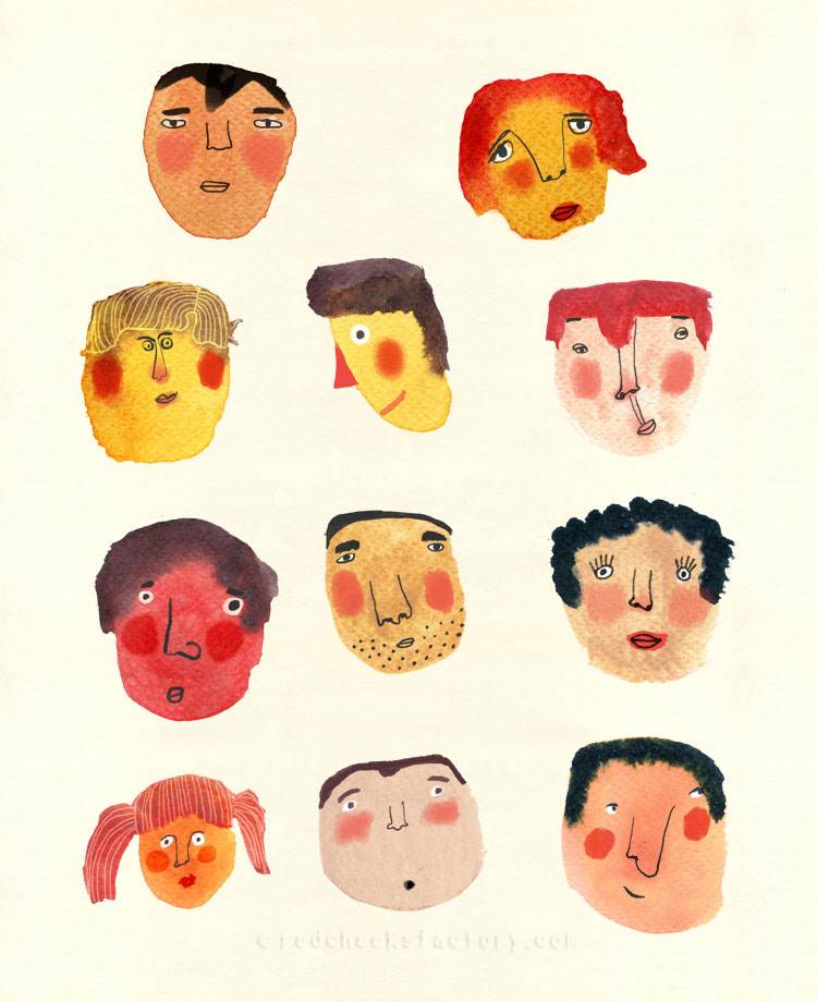 Watercolor Faces by Nelleke Verhoeff