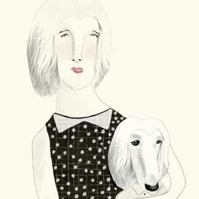 Illustration of a woman with her poodle -look a like