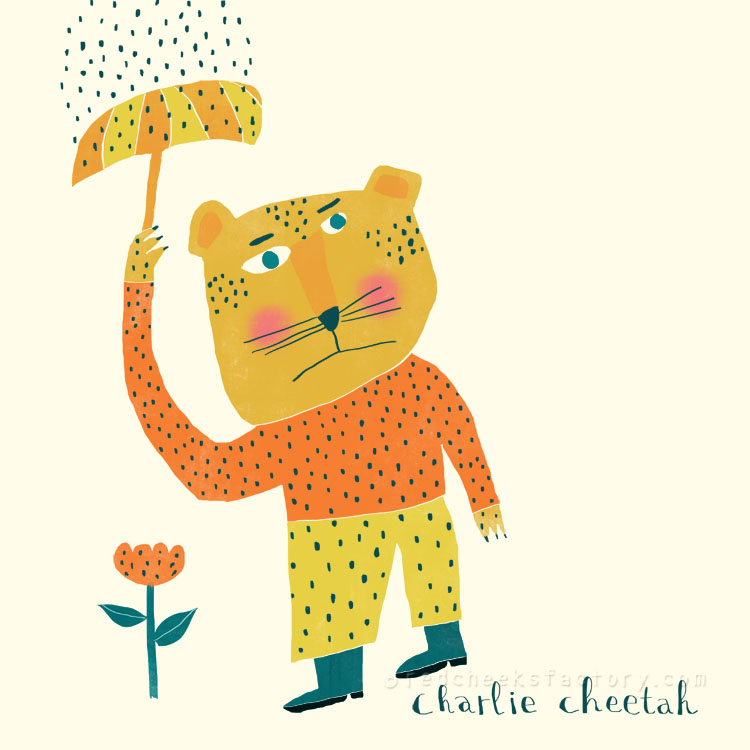 Charlie Cheetah animal character by Nelleke Verhoeff