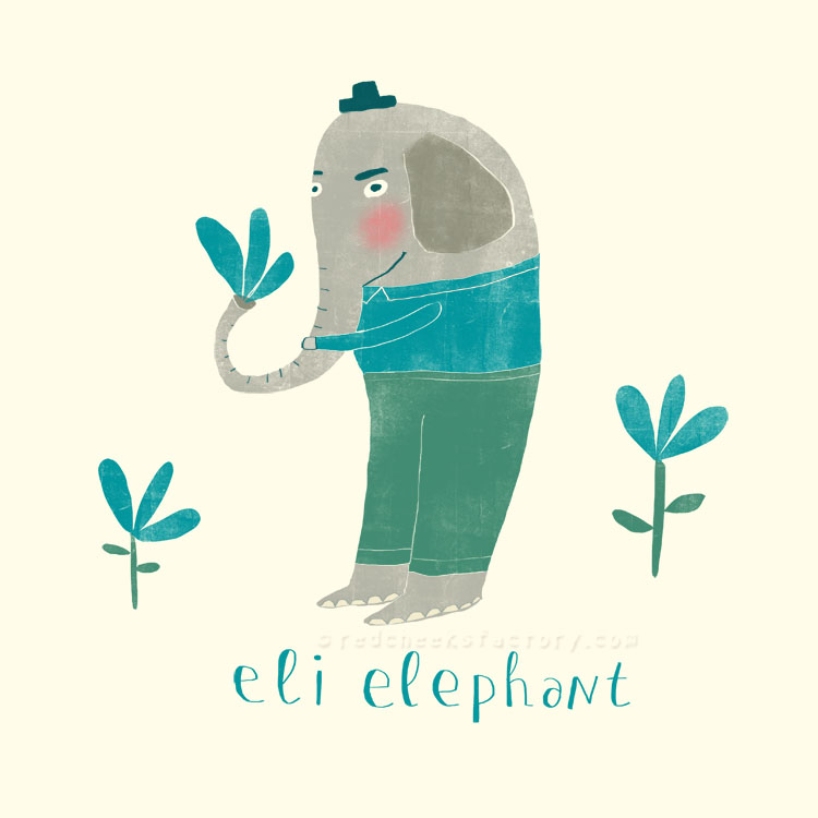 Eli Elephant animal character by Nelleke Verhoeff