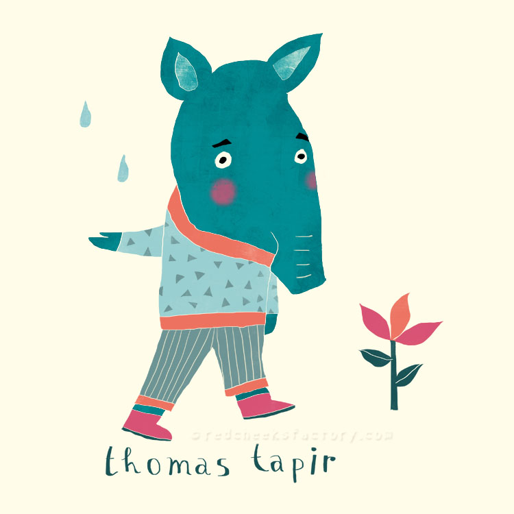 Thomas Tapir animal character by Nelleke Verhoeff
