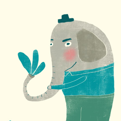 Eli Elephant animal character for Childrens picture book