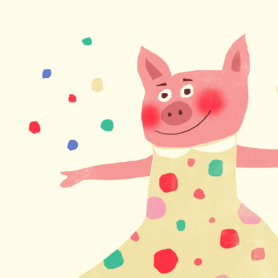 Priscilla Party pig animal character for Childrens picture book