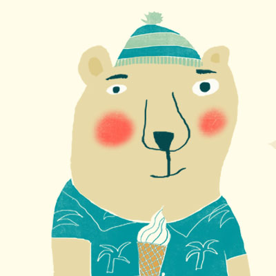 Puck Polarbear animal character for Childrens picture book