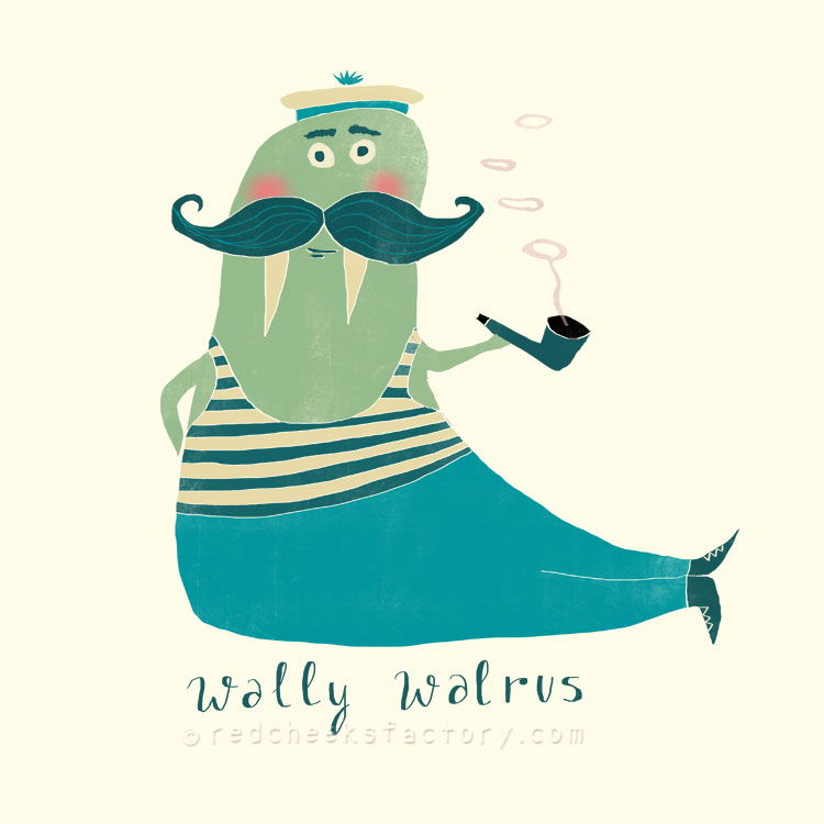 Wally Walrus animal character by Nelleke Verhoeff