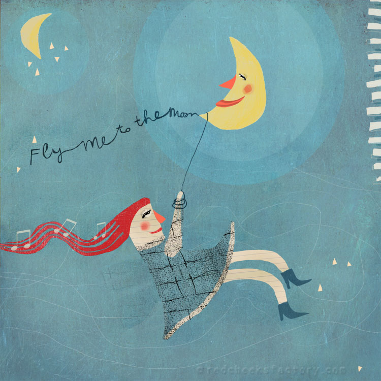Fly Me To The Moon illustration giclee print Red Cheeks Factory