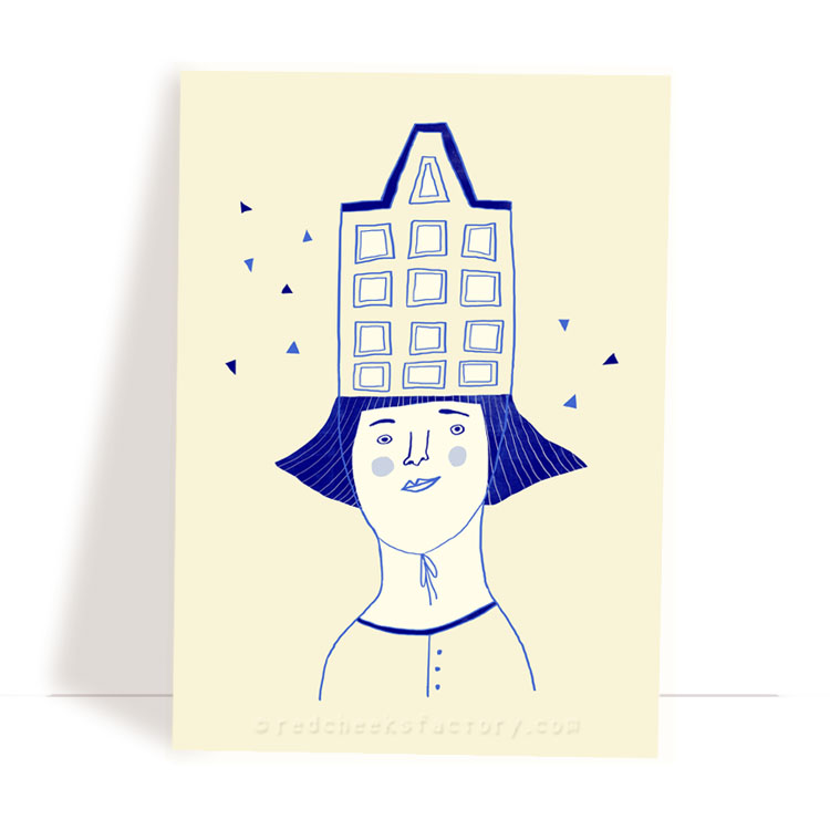 Dutch Hat 4 - Delft Blue postcard design by Nelleke Verhoeff