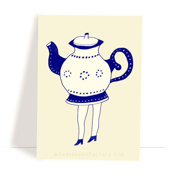 Dutch Tea Party 5 - Delft Blue postcard design by Nelleke Verhoeff