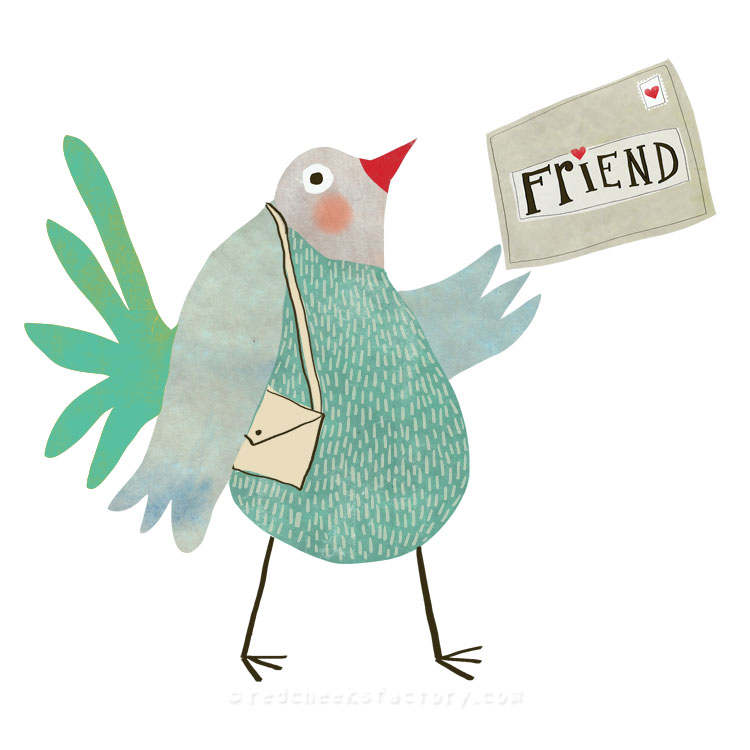 Pigeon Illustration around the theme: time and letters for scrapbooking