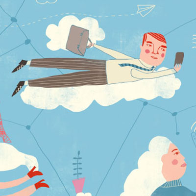 Illustration of digital nomads flying in the cloud