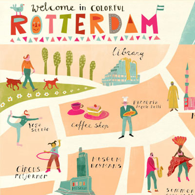 Illustrated map of colorful and multi-cultural Rotterdam
