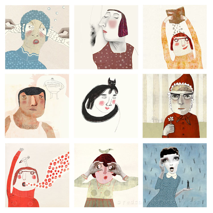 Illustratrions for  face a day project Red Cheeks Factory