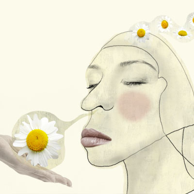 Illustration of a woman smelling flowers