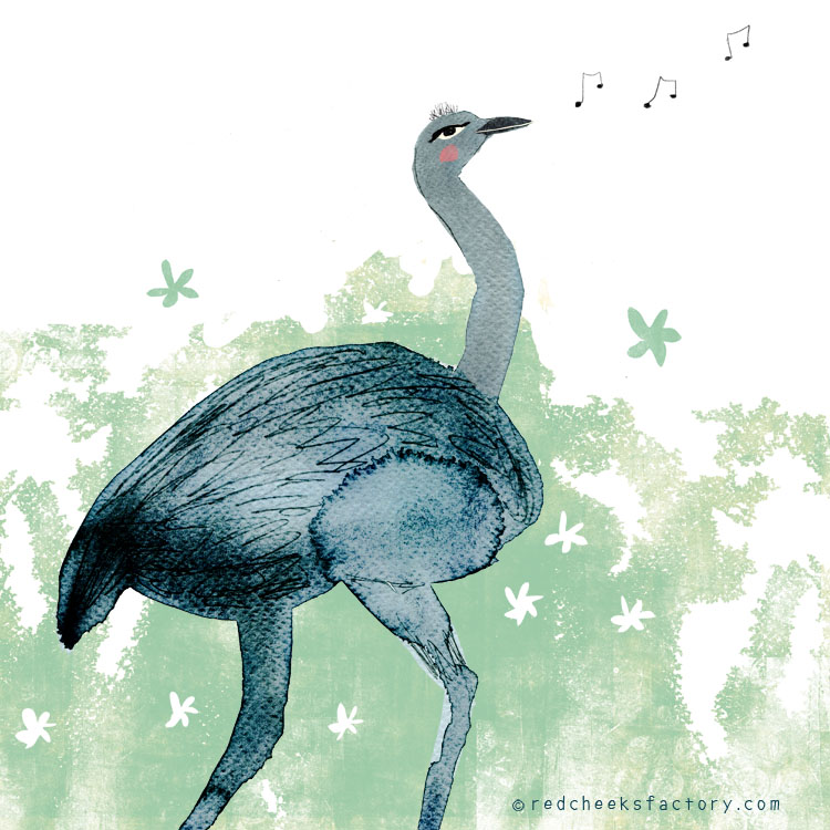 Ostrich Illustration by Nelleke Verhoeff for the French fairy tale Bonne Biche & beau Minon