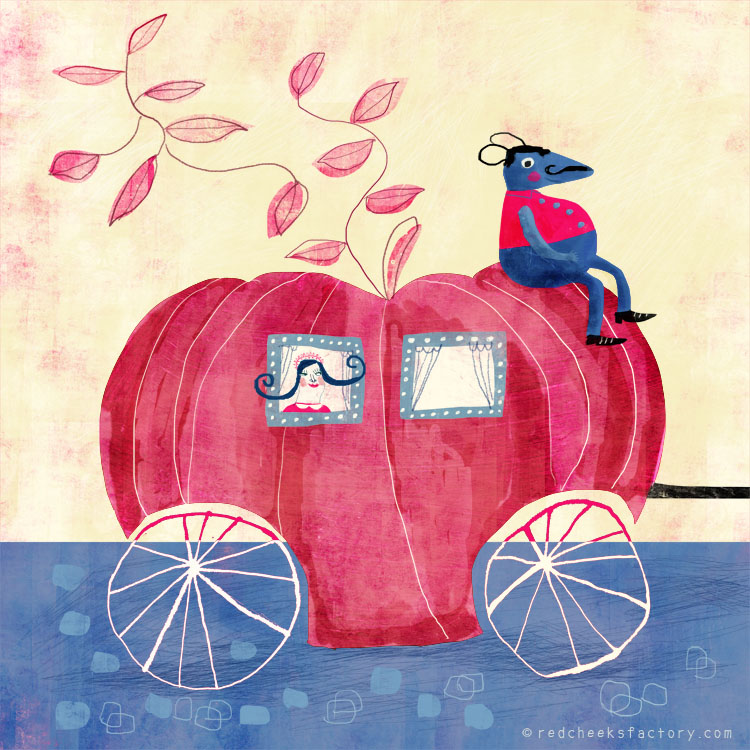 Pumkin Horses illustration by Nelleke Verhoeff after the famous fairytale Cinderella