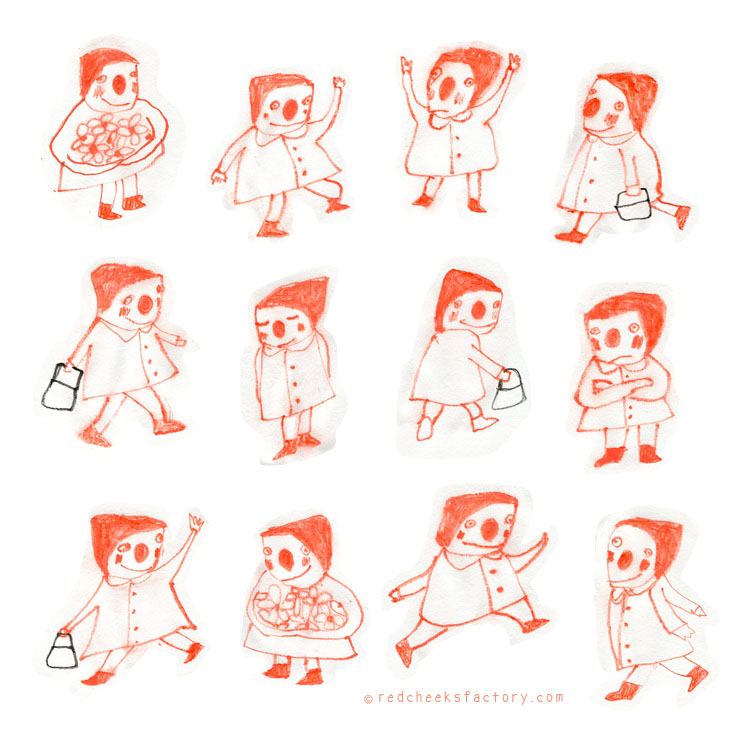 Red Riding Hoods Character sketches by Nelleke Verhoeff for little red Ridinghood