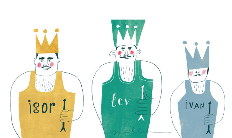 'Three Brothers' illustration by Nelleke Verhoeff for the frog princess fairytale