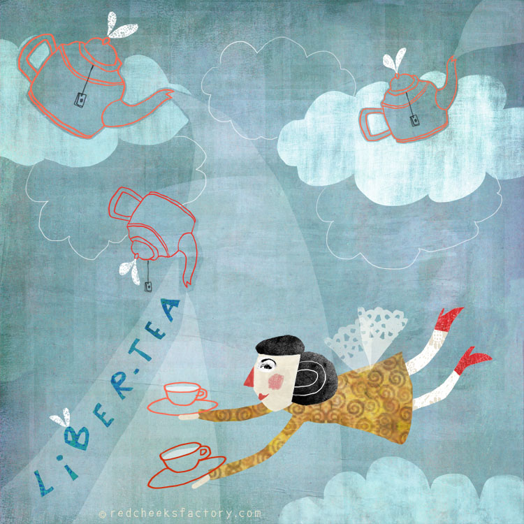 Liber Tea giclee print in the mad tea party series by Nelleke Verhoeff