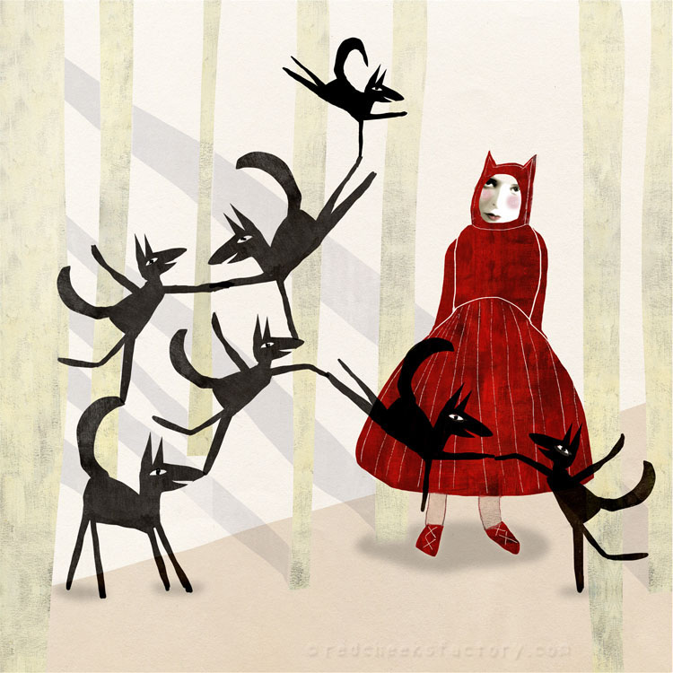 Little Red Ridinghood And The Seven Wolves illustration Red Cheeks Factory