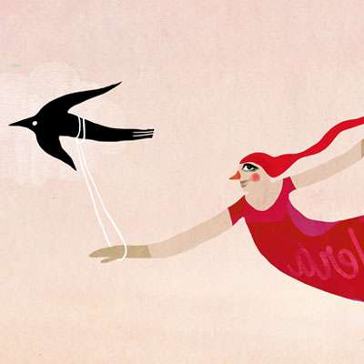 Learn to fly, illustration of a woman who is learning to fly helped by three birds