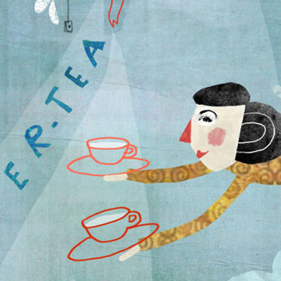 the mad tea party series prints of women with tea cups and teapots