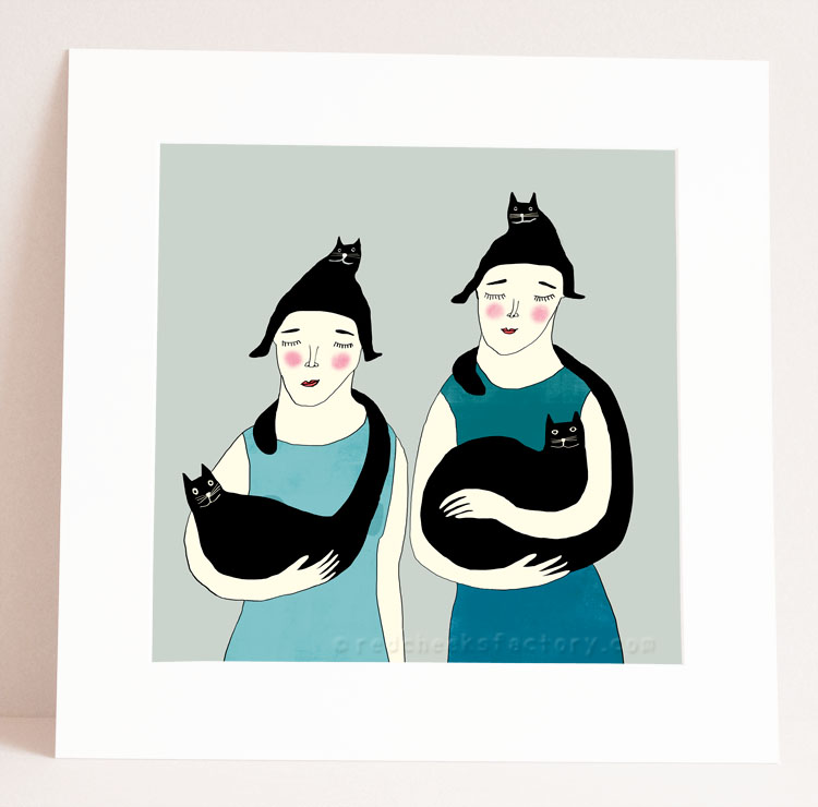 Women With Cats Illustration