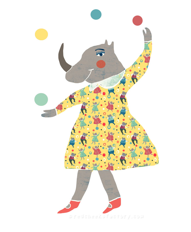 Dancing Rhinos party pattern 3 Nelleke Verhoeff