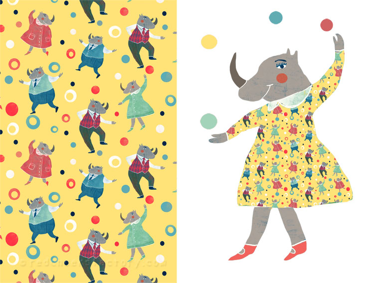 Dancing Rhinos party pattern 2 Nelleke Verhoeff