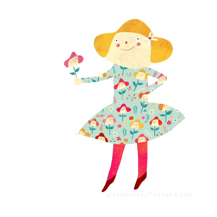 happy flowers pattern girl Red Cheeks Factory
