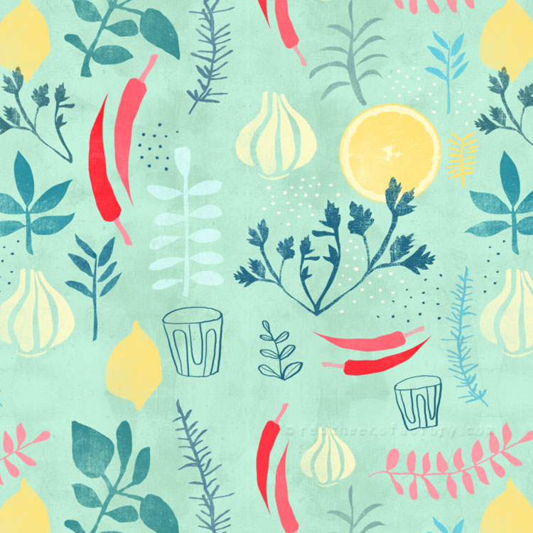 Herbs Pattern vintage retro kitchen food pattern Nelleke Verhoeff